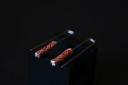 Boucles d'oreilles longues en argent collection Chronos Red Silver