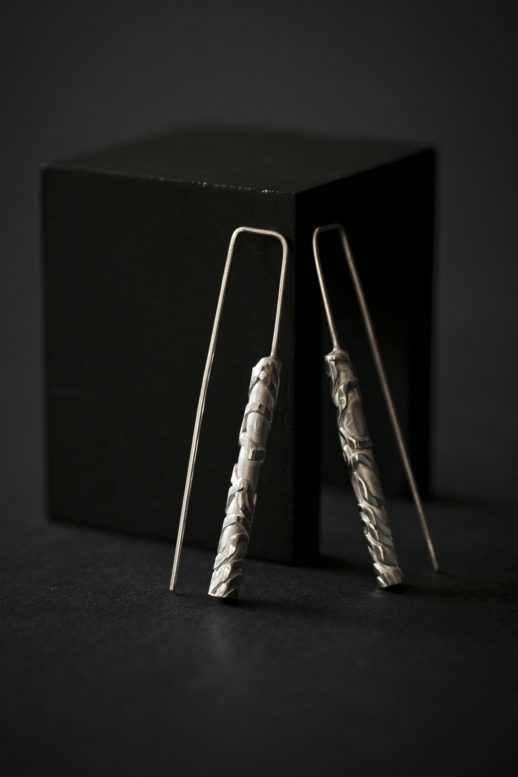 "Chronos ""White Silver"" long earrings"
