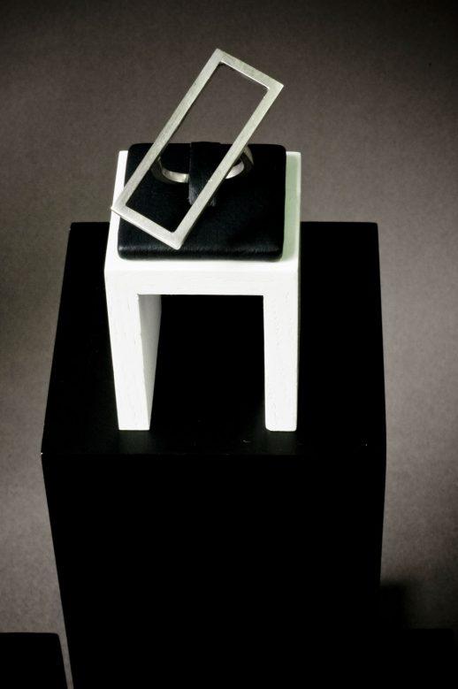 Mind The Gap rectangular silver ring