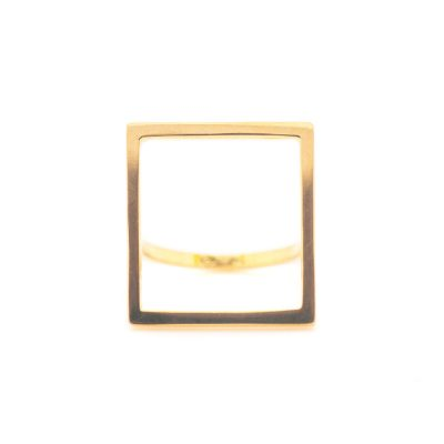 Mind The Gap square gold ring