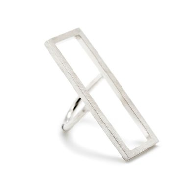 Bague rectangulaire en argent collection Mind The Gap
