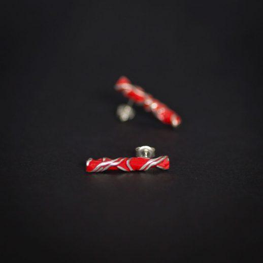 Boucles d'oreilles courtes en argent collection Chronos Red Silver