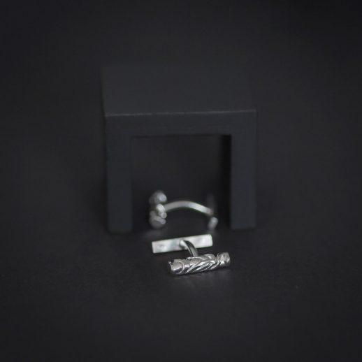 Boutons de manchette en argent collection Chronos White Silver