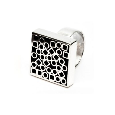 Bague I en argent collection Tubular Square Line