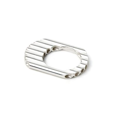 Bague plate en argent collection Tubular Round Line