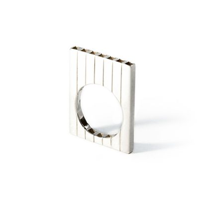Bague plate en argent collection Tubular Square Line