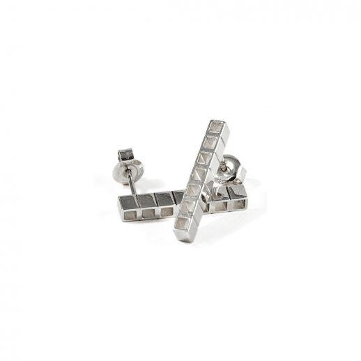 Boucles d'oreilles courtes en argent collection Tubular Square Line