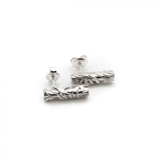 Boucles d'oreilles courtes en argent collection Chronos White Silver