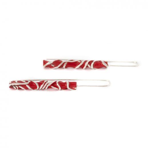 Boucles d'oreilles longues en argent et laque rouge collection Chronos Red Silver