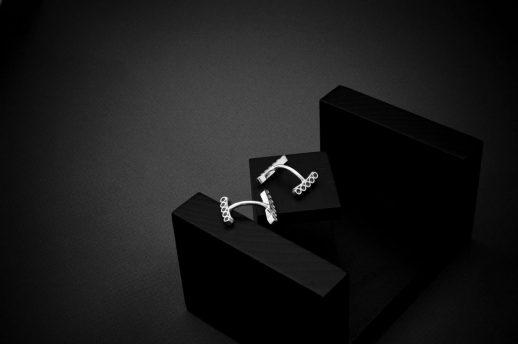 Tubular Round Line silver cuff links